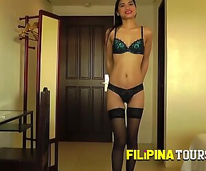Sexy Asian Teen in black lingerie is ready to have sex with a backpacker.