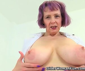 English milf Tigger plays with her fat mounds and pink fanny