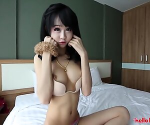 HELLOLADYBOY Little Busty Asian China Doll Takes A Big Load