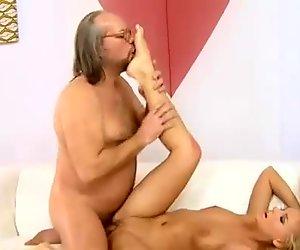 Sexy blonde fucking ugly grandpa