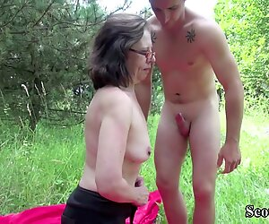 Hairy 74yr old Granny Seduce to Fuck by Young Guy Outdoor