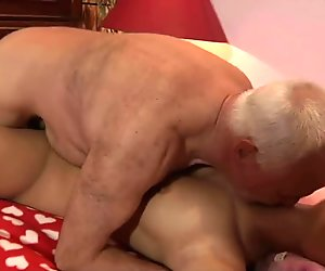 Busty blonde young girl ejoys screwing grandpa