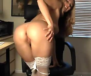 Office nympho Anita Dark locks herself in the office for one big orgasm