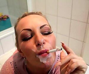 German Blonde Smoking Queen become Cumshot !
