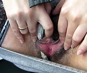 Masturbate big hairy lips and clit in car