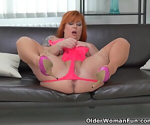 Big titted milf Alex finger pulverizes her naughty poon