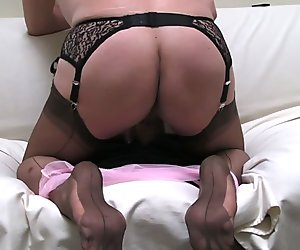 Rear view, ff stockings and cum, ff soles too ... mmmm