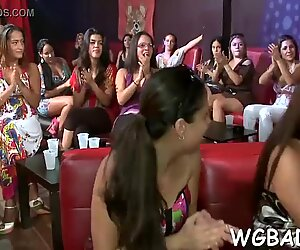 ultra-cute stripper gets his stiffy delighted by several babes