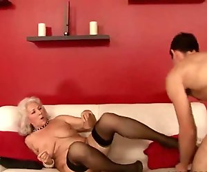 Horny boy fucking busty grandma