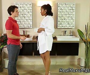 Wam ebony masseuse nailed