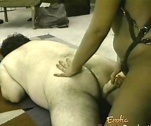 Fat dude sucks on a sex toy and has his asshole hammered