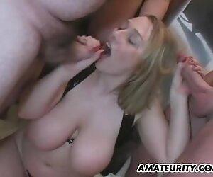 Busty chubby amateur girlfriend anal gangbang with cum