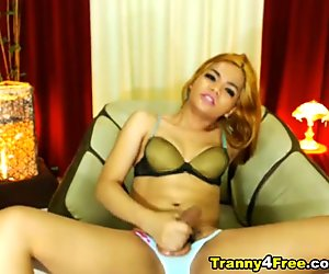 Tranny Sucks her Cock and Swallows her Cum
