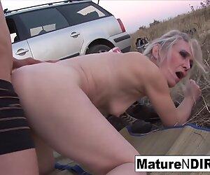 Blonde mature sucks & fucks outdoors!