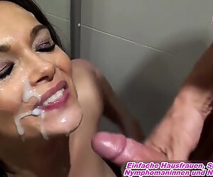 German Milf homemade facial in shower mouth creampie