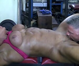 Blonde British Muscle Bombshell and her Big Clit Fuck her Man