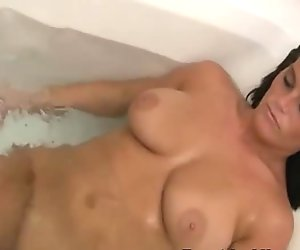 Naked Sexy Brunette In A Bathtub