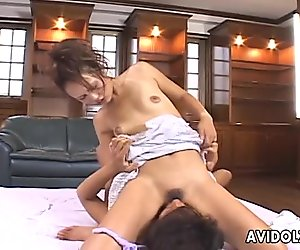 Appealing Japanese hoochie introduces her BF to facesitting