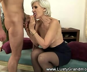 Mature grandmother in tights gets humped in her hairy pussy