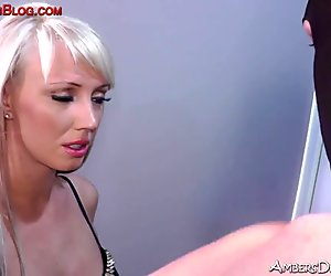 Blonde bitch foot domination slap cane strapon