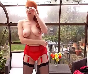 Mature redhead mom fingering her hungry vagina