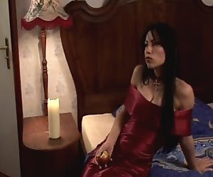 Vampire babe with great tits giving blowjob