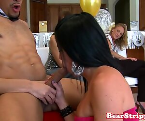 Glam partygirl sucking strippers huge wang