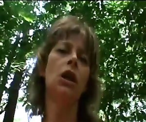 Horny grandma loves to film POV videos while outdoors