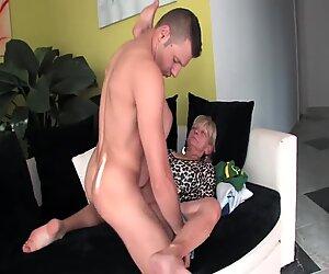 Shameless granny fucks with stepson