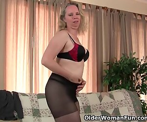 mummy's pantyhosed cunt gets her all super hot and horny
