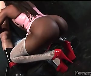 Ebony girl in sexy outfit give tug job and blowjob
