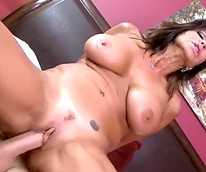 Brunette milf with huge melons is cock hungry and randy