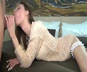 Alluring slut licks a dick