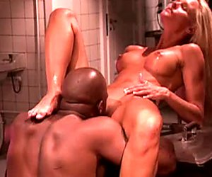 Seductive blonde babe Katja Kean gets her pussy licked by BBC