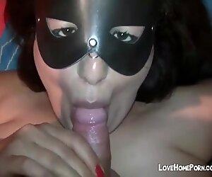 Fat Mature Masked Bitch Sucks Cock And Gets A Huge Facial