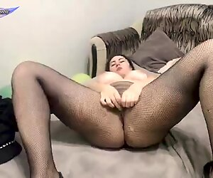 Hot Girl in Stockings Passionate Play Pussy and Undresses
