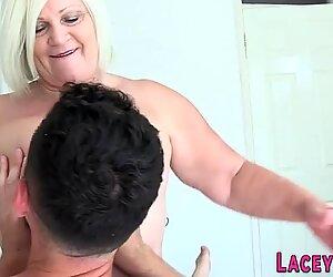 Fat grandma blows cock