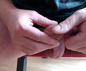 playing with my little foreskin cock