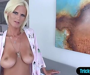 My busty MILF stepmother stops ironing to blows me