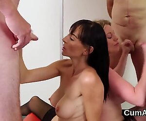 Kinky idol gets sperm load on her face eating all the cum
