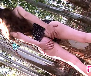 Naughty Nina flashes in the woods