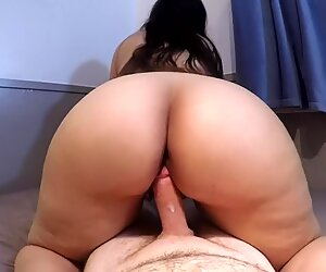 THICK ASS BRUNETTE GYRATES REVERSE COWGIRL POV UNTIL red-hot messy creampie