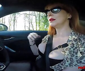 fat titty British mature Red draining in the car