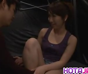 Nozomi Mitani sucks and licks dong till gets cum