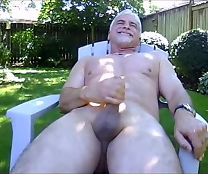 Daddy wanking outdoors