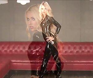 Sexy blonde fetish babe Alessandras latex wear and shiny rub