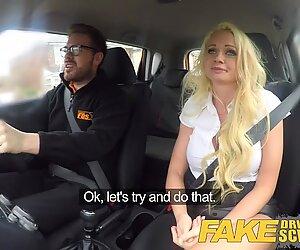 Fake Driving School Instructor has horny car fuck