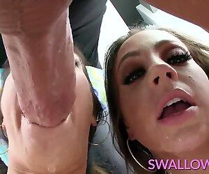 SWALLOWED Abigail and Eva Lovia deepthroating fat pole