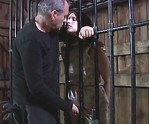 Suspended bdsm sub toyed by her maledom