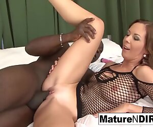 dark haired mummy masturbates before taking a big black cock
